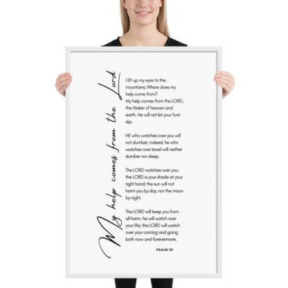 Psalm 121 white 61x91cm framed poster